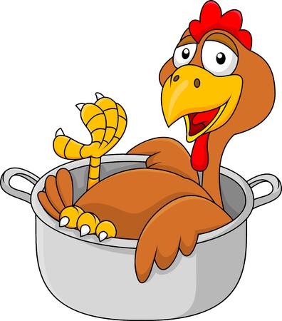 Chicken cartoon in the saucepan