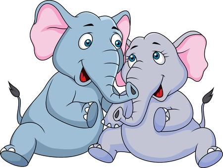 Ilustración de Cute couple elephant cartoon  - Imagen libre de derechos