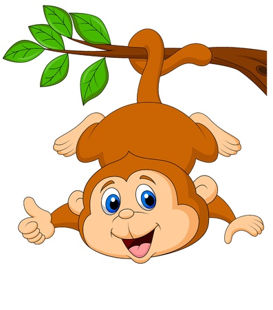Photo pour Cute monkey cartoon hanging on a tree branch with thumb up - image libre de droit