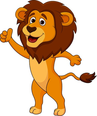 Illustration for Cute lion cartoon thumb up - Royalty Free Image
