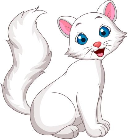 Cute white cat cartoon sitting
