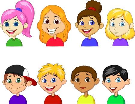 Vektor für Boy and girl cartoon collection set - Lizenzfreies Bild