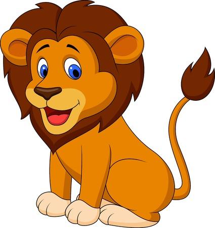 Illustration pour Funny lion cartoon - image libre de droit