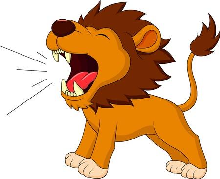 Illustration pour Lion cartoon roaring - image libre de droit