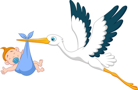 Illustration for Stork with baby boy cartoon - Royalty Free Image