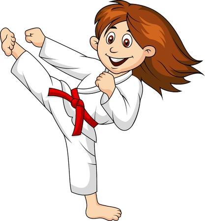 Girl cartoon doing martial art