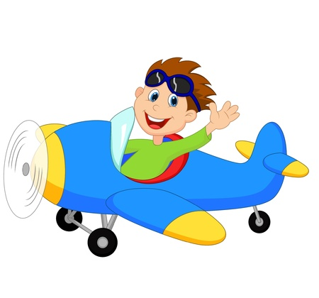 Illustration for Little Boy cartoon Operating a Plane - Royalty Free Image