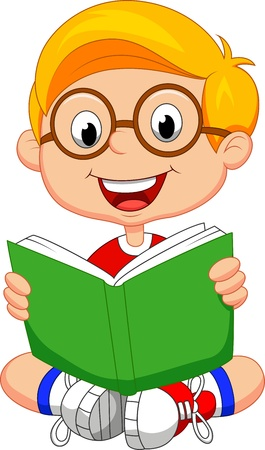 Illustration pour Young boy cartoon reading book - image libre de droit