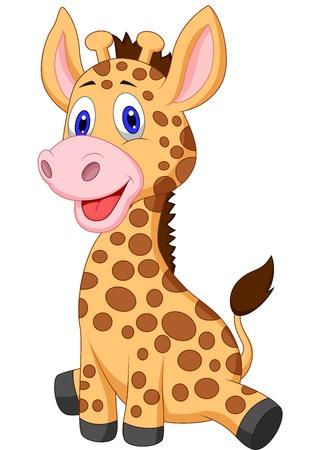 Illustration for Cute baby giraffe cartoon - Royalty Free Image