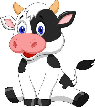 Cute cow cartoon sitting