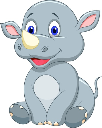 Ilustración de Cute baby rhino cartoon - Imagen libre de derechos