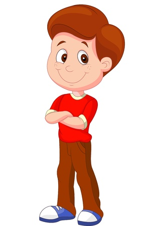 Cute boy cartoon standing