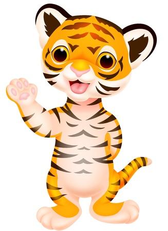 Illustration pour Cute baby tiger cartoon waving  - image libre de droit