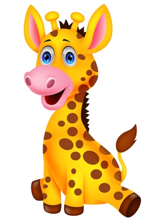 Illustration pour Cute baby giraffe cartoon  - image libre de droit