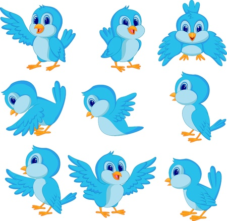 Cute blue bird cartoon