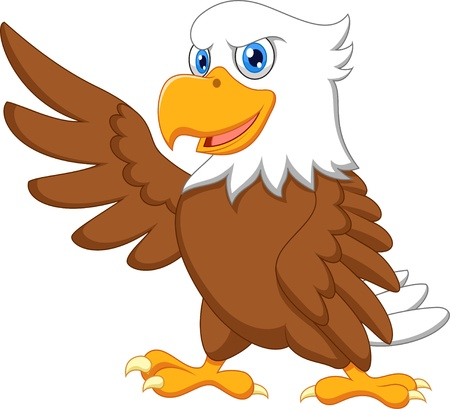 Eagle cartoon waving