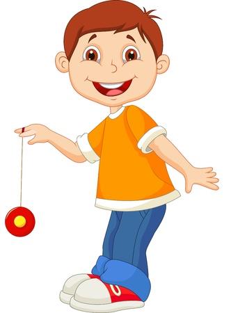 Little boy cartoon playing yo yo