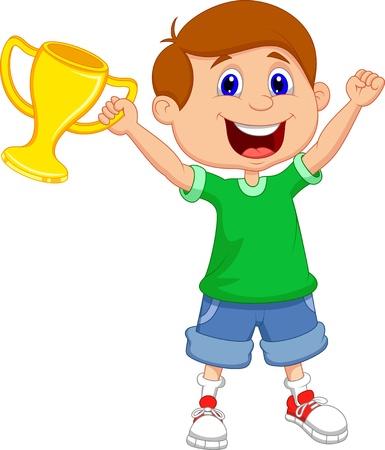 Boy holding gold trophy