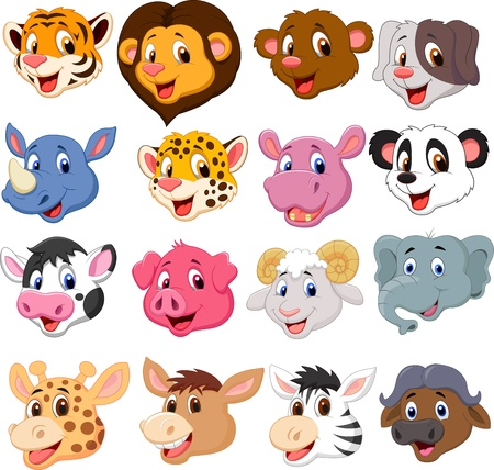 Cartoon animal head collection set のイラスト素材