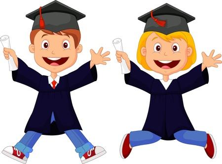 Happy graduates cartoon