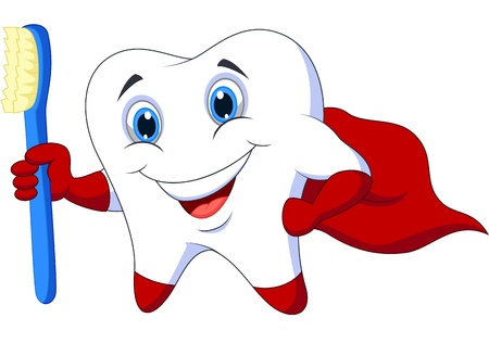 Cute cartoon superhero tooth with toothbrush
