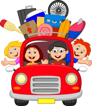 Illustration for Cartoon Family traveling with car  - Royalty Free Image