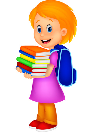 Cartoon girl bring pile of books