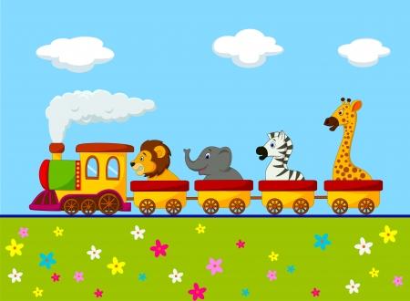 Cartoon Animal train