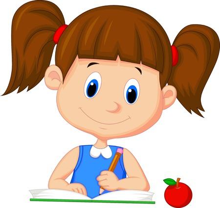 Ilustración de Cute cartoon girl writing on a book  - Imagen libre de derechos