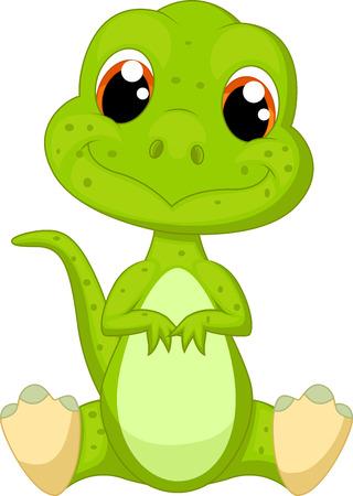Illustration for Cute green dinosaur cartoon - Royalty Free Image