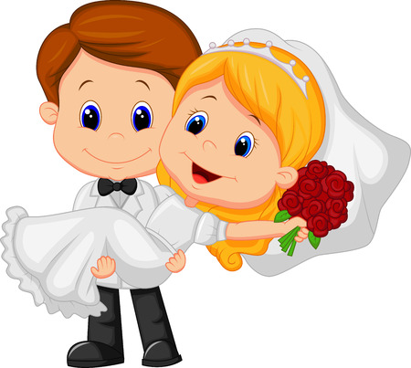 Cartoon Kids Playing Bride and Groom