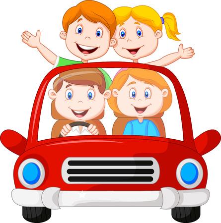 Illustration pour Road Trip with family cartoon - image libre de droit