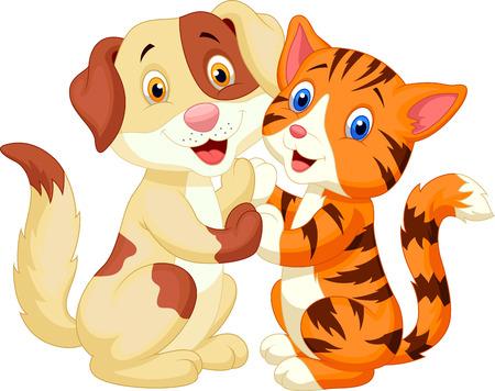 Illustration pour Cute cat and dog cartoon  - image libre de droit