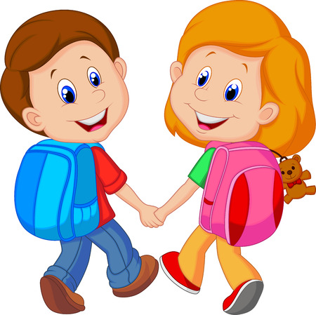 Illustration pour Cartoon Boy and girl with backpacks  - image libre de droit