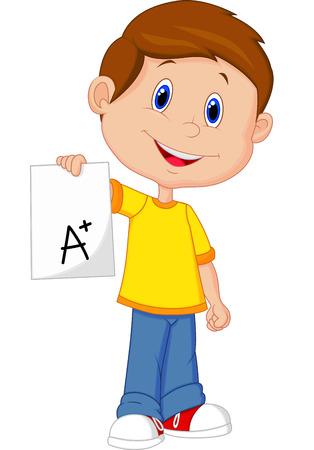 Boy cartoon showing A plus grade
