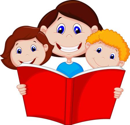 Cartoon Mother reading book to her children