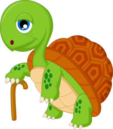 Elderly tortoise cartoon