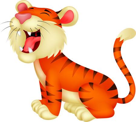 Illustration pour Tiger cartoon roaring  - image libre de droit