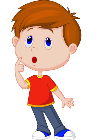 Ilustración de Cute boy cartoon thinking  - Imagen libre de derechos