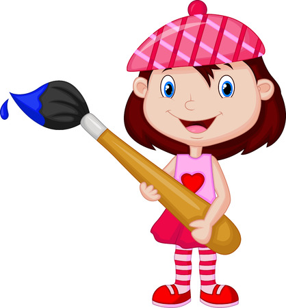 Illustration for Little girl cartoon is painting with paintbrush  - Royalty Free Image