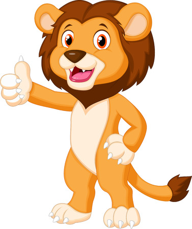 Illustration for Cute lion cartoon giving thumb up  - Royalty Free Image