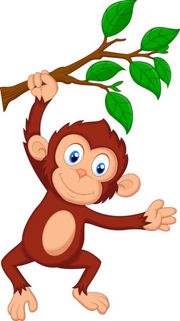 Ilustración de Cute monkey cartoon hanging  - Imagen libre de derechos
