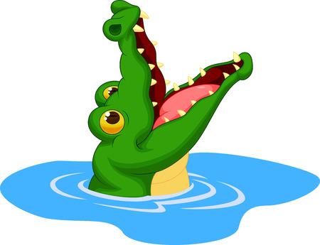 Crocodile cartoon open its mouth
