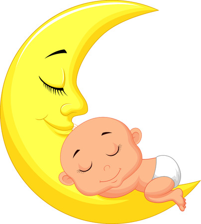 Illustration pour Cute baby cartoon sleeping on the moon  - image libre de droit