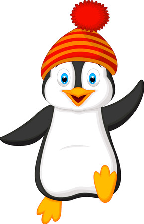 Cute penguin cartoon wearing red hat