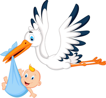 Foto de Cartoon stork carrying baby - Imagen libre de derechos