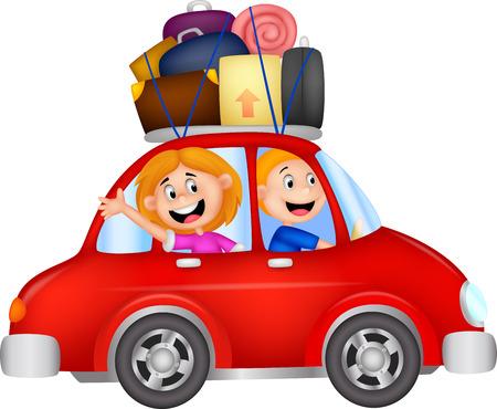 Illustration pour Family cartoon traveling with car  - image libre de droit