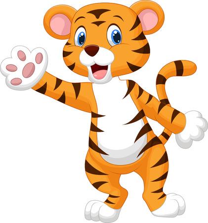 Illustration pour Cute tiger cartoon waving hand  - image libre de droit