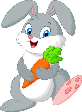 Ilustración de Happy rabbit cartoon holding carrot  - Imagen libre de derechos