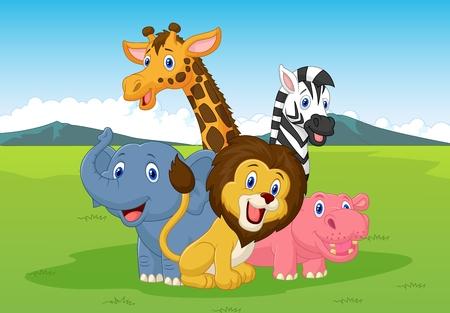 Ilustración de Happy cartoon safari animal  - Imagen libre de derechos